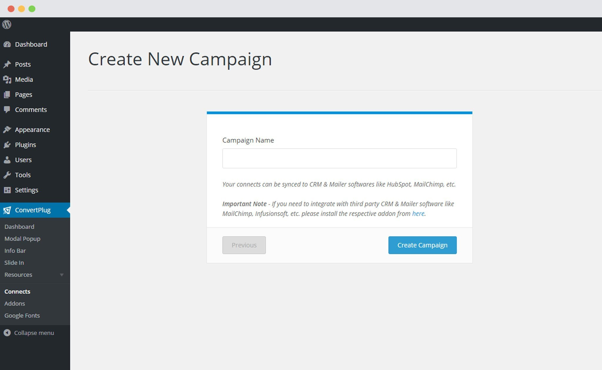 Create campaign by installing addon in ConvertPlus