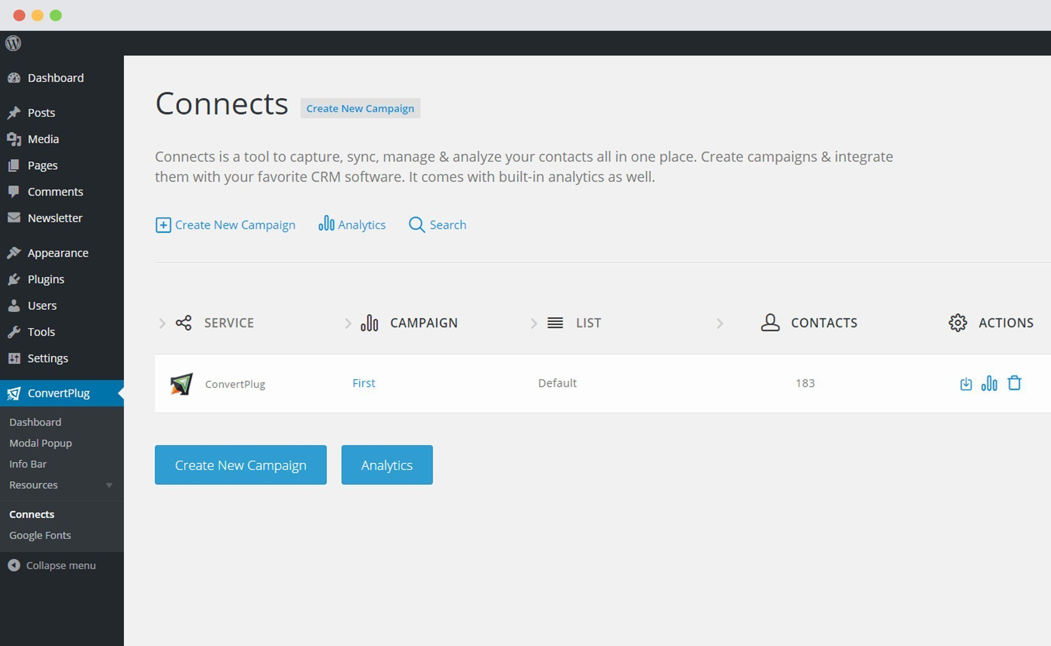 Connects page in ConvertPlus
