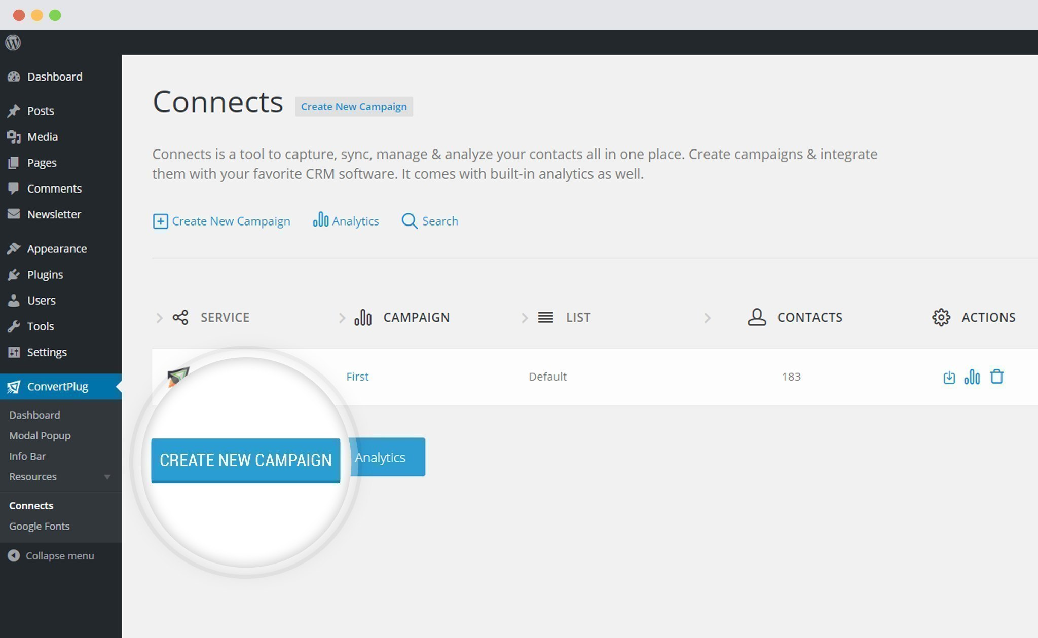Create a New Campaign in ConvertPlus