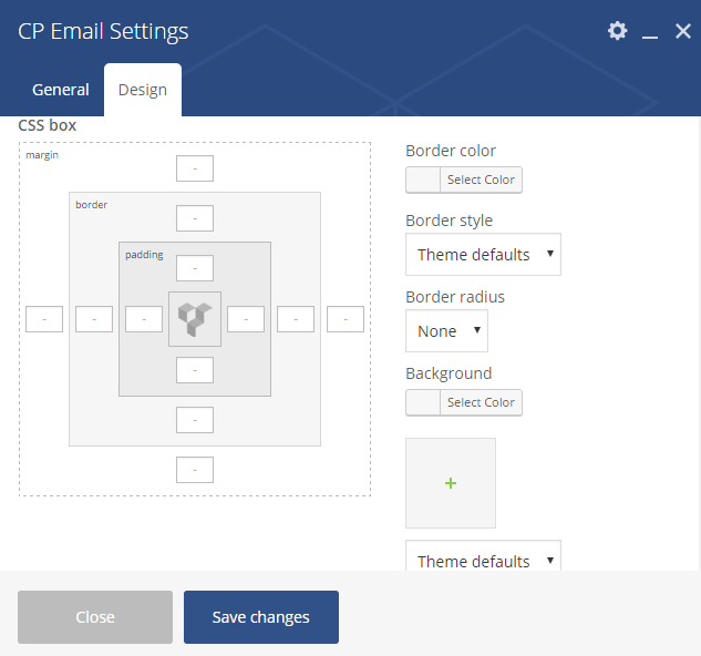 Design Settings for CP Email