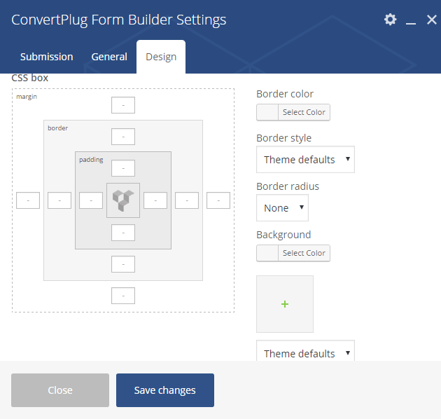 Design Settings for Form Builder