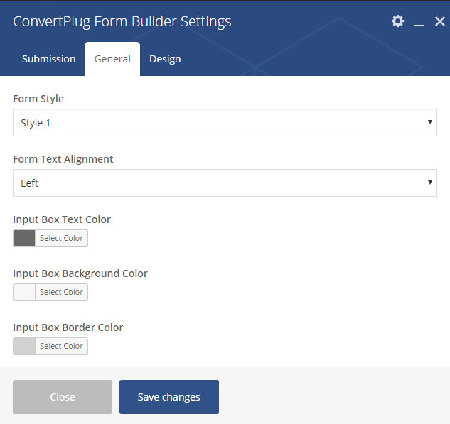 General Settings for Form Builder