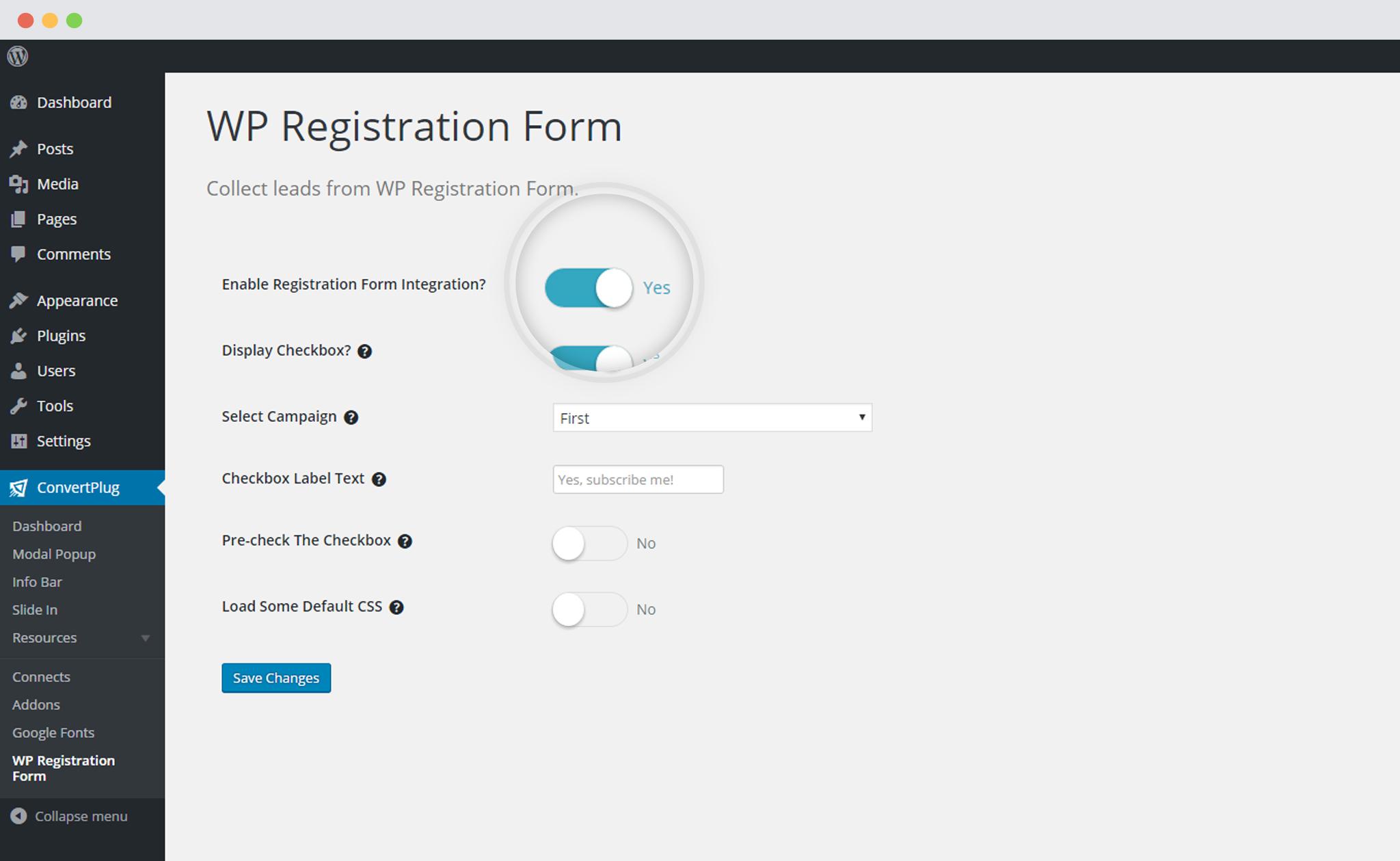 Enable WP Registration form integration with ConvertPlug