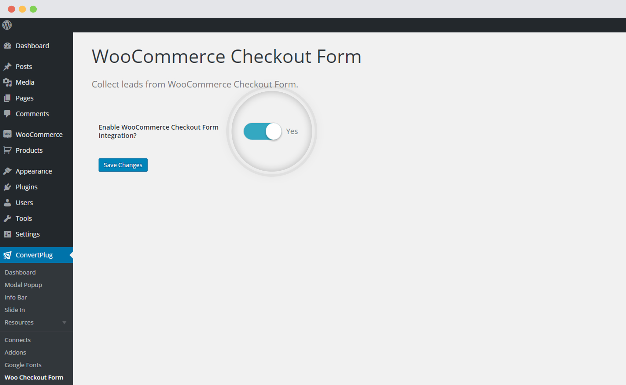 Enable WooCommerce integration with ConvertPlug
