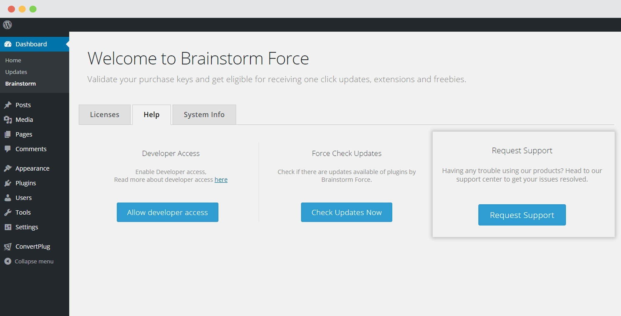 Request-support from Brainstorm Force