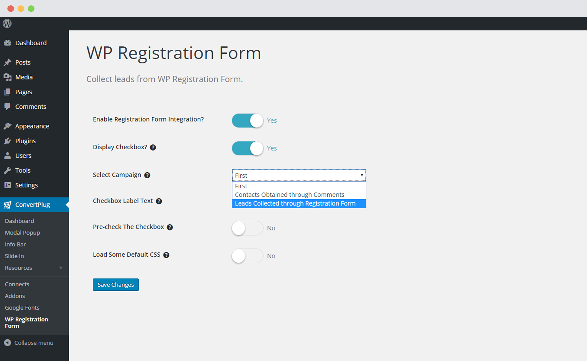 Select Campaign for WP Registration in ConvertPlug