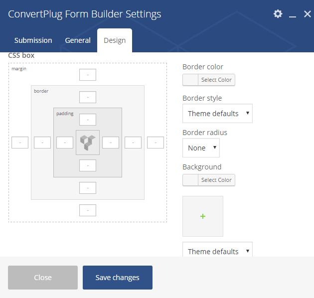 Design Settings for Form Builder
