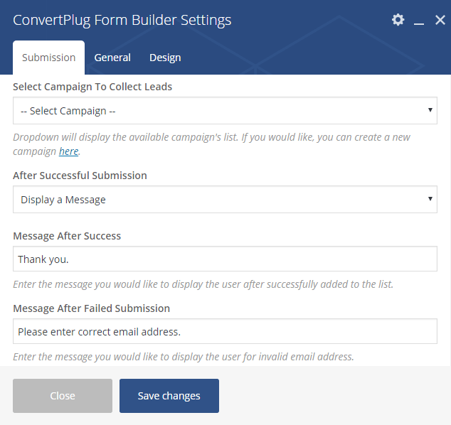 Submission settings for Form Builder
