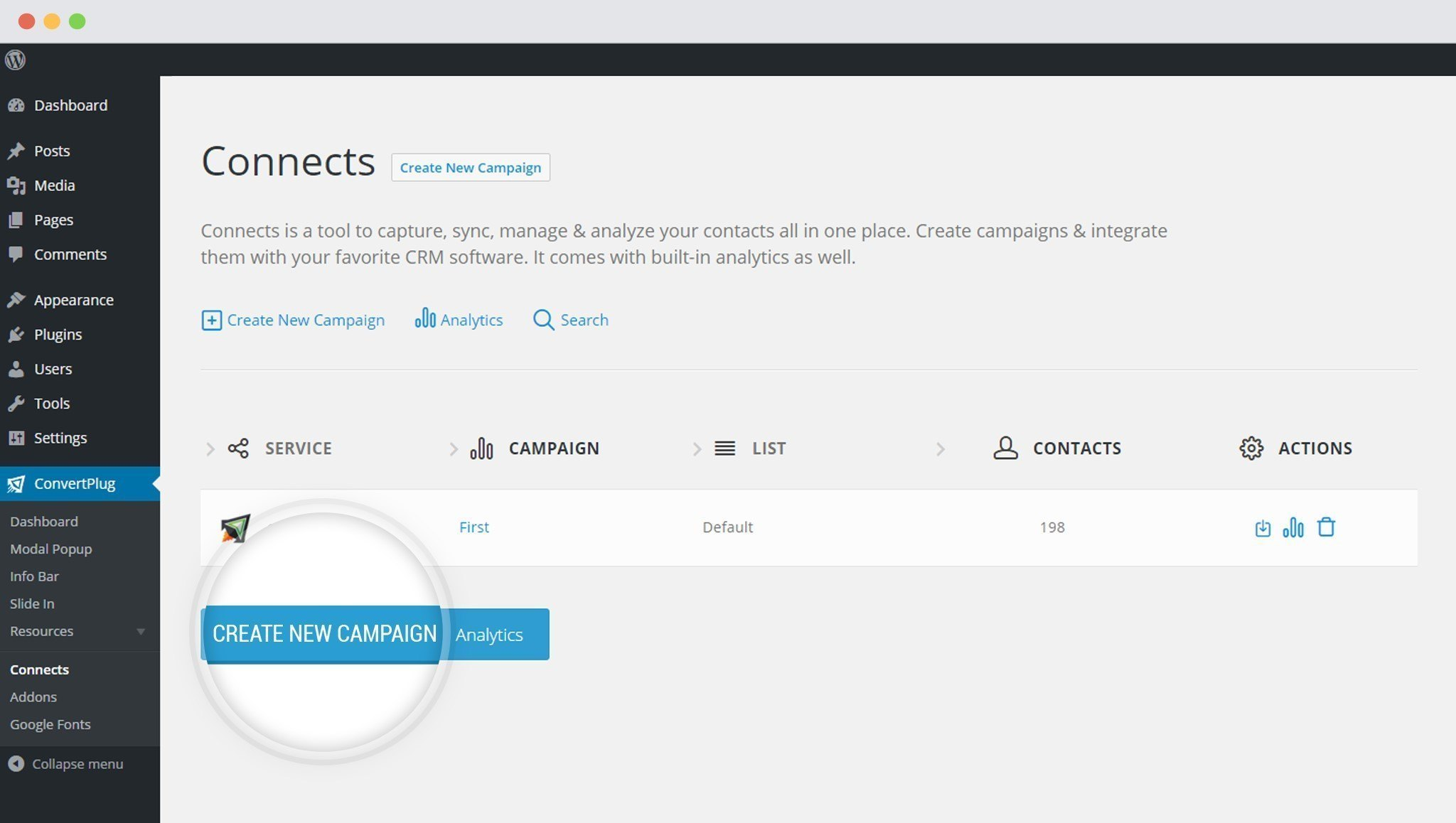 Create new Campaign in ConvertPlus
