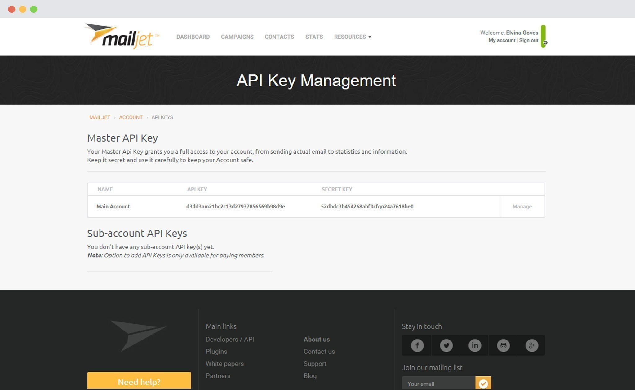 Mailjet API and Secret Key