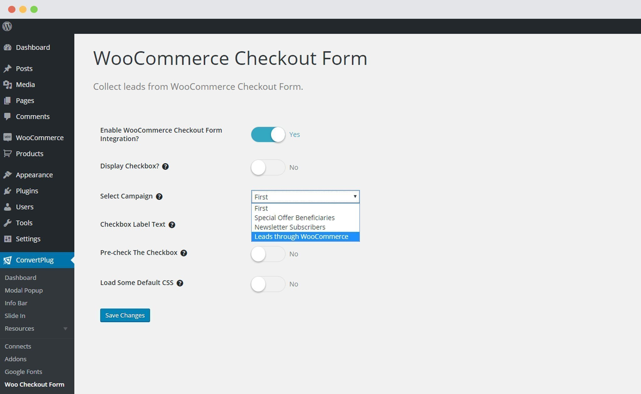 Select Campaign to be integrated with WooCommerce in ConvertPlus