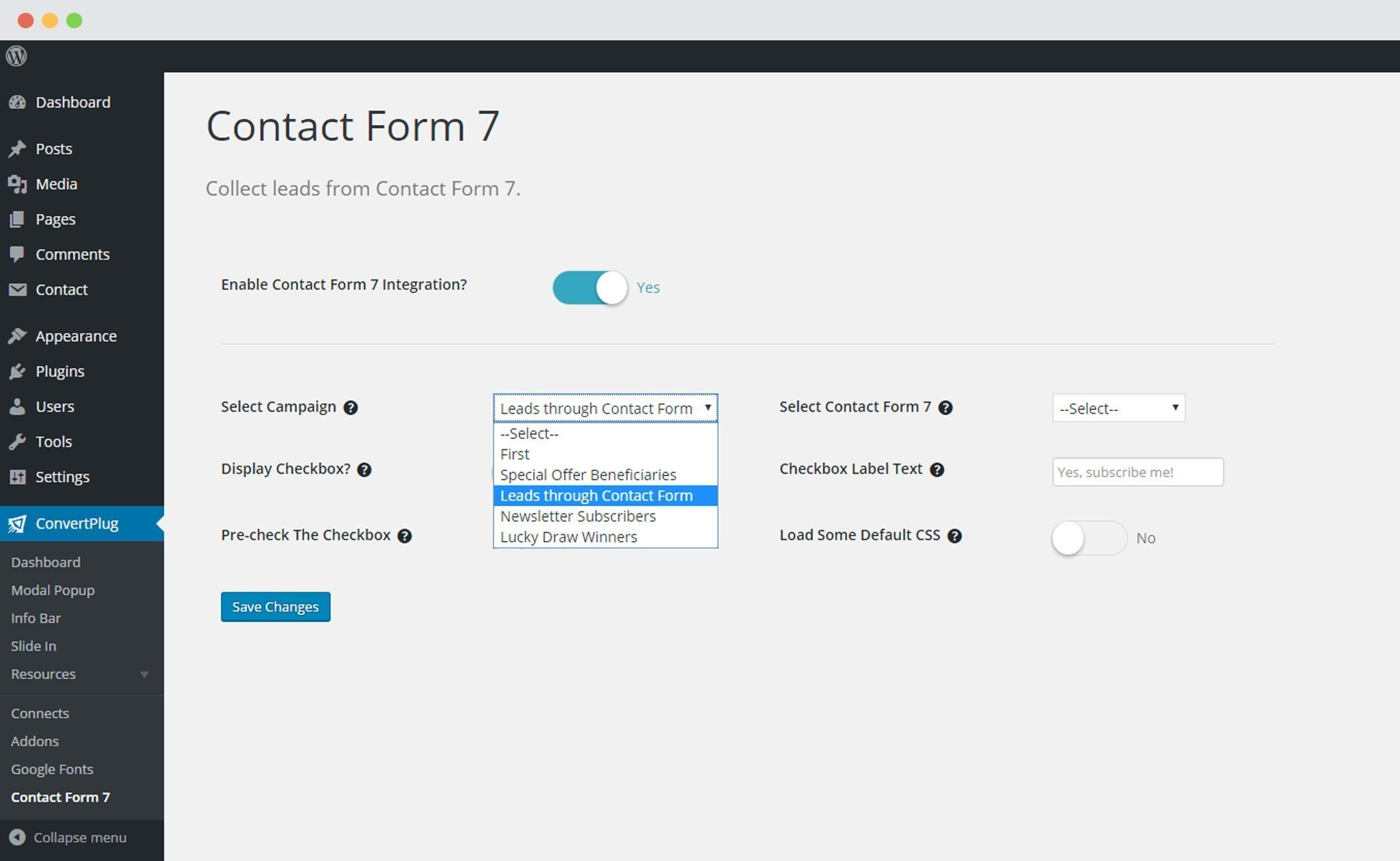 Select ConvertPlus Campaign To Integrate With Contact Form 7