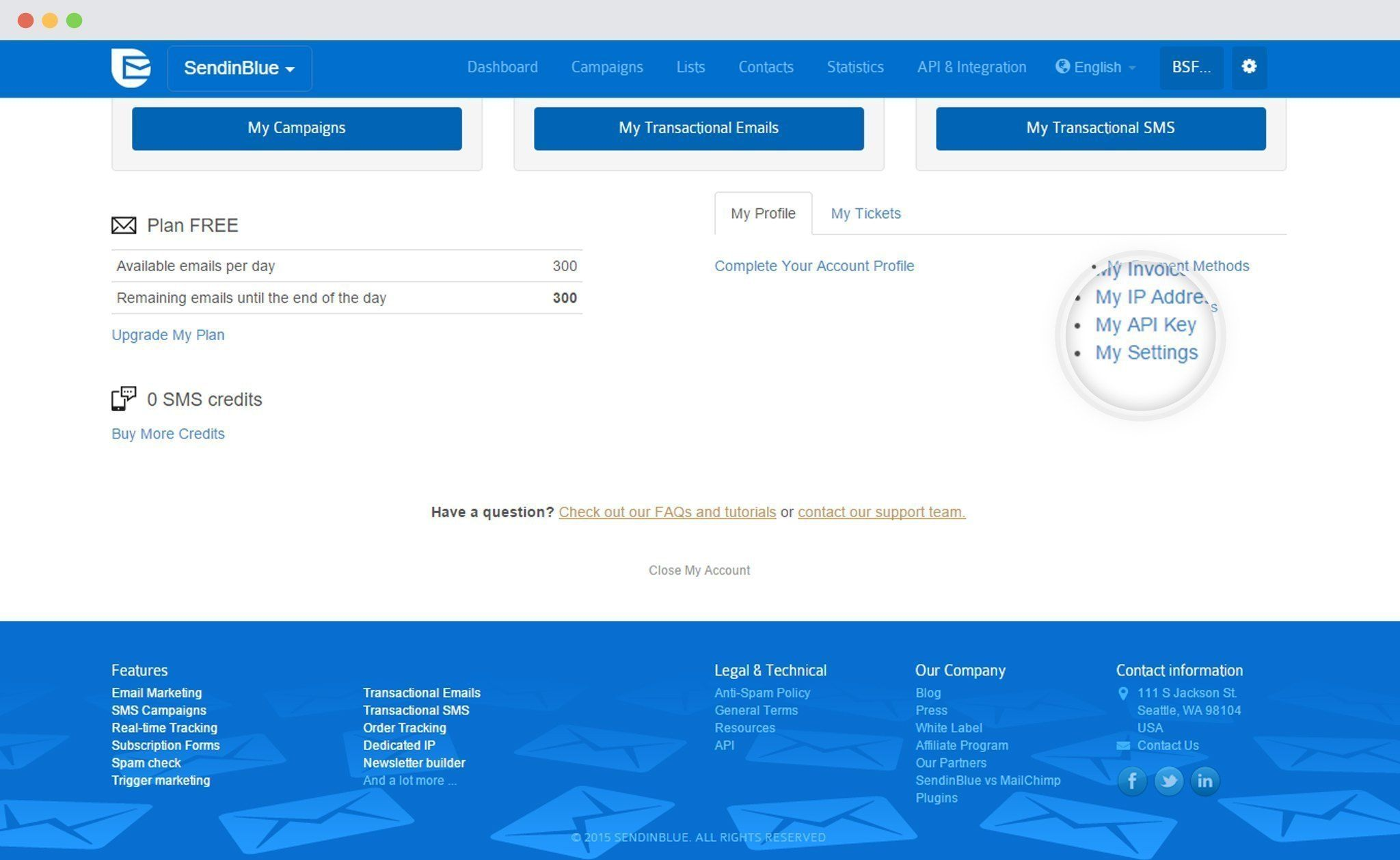 SendinBlue My API Key link