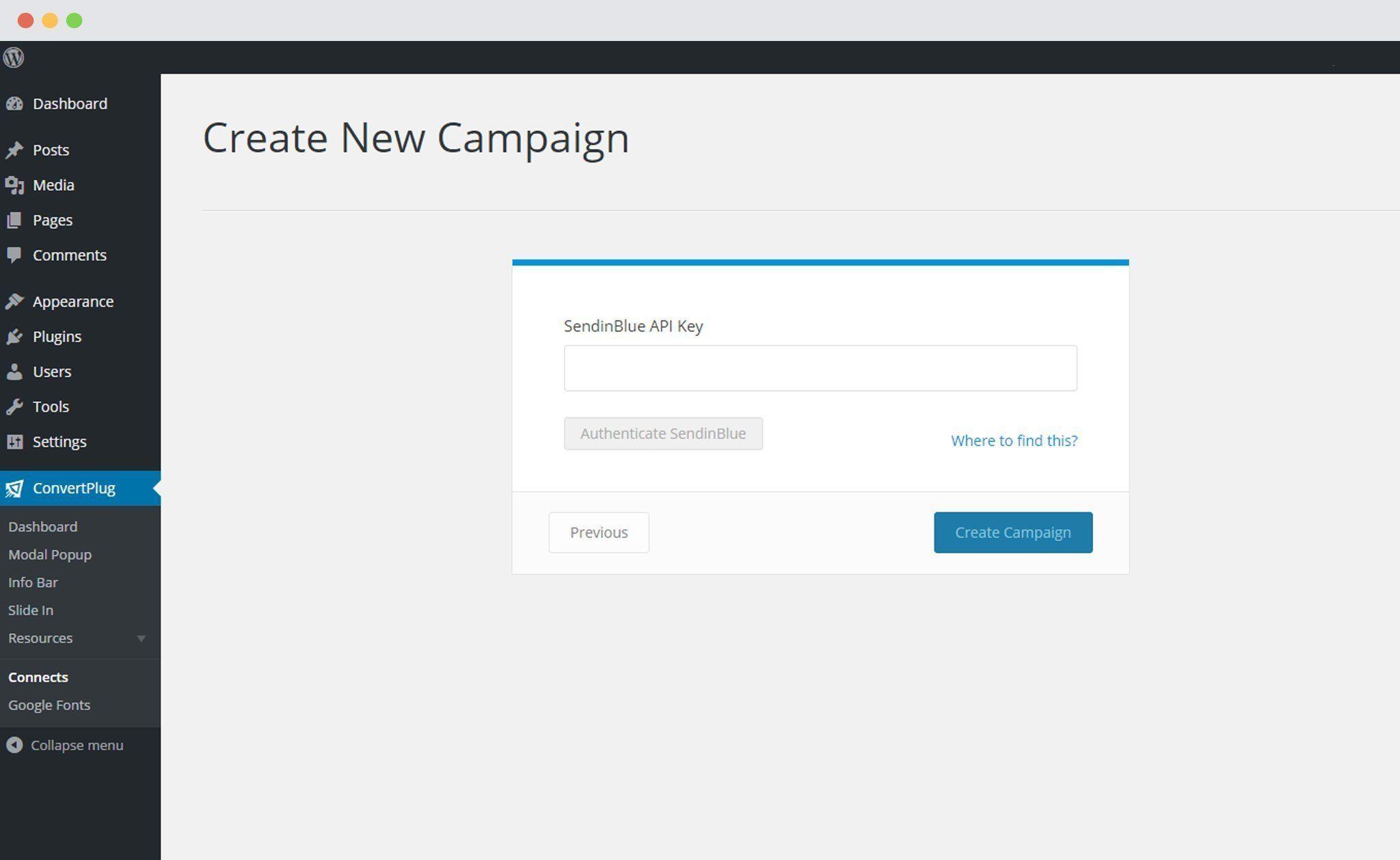 SendinBlue authentication in ConvertPlus