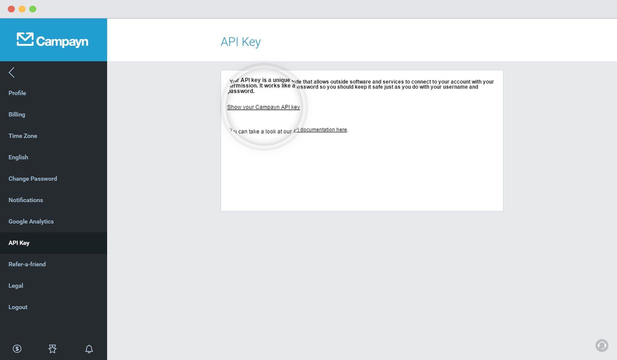 Show Campayn API Key