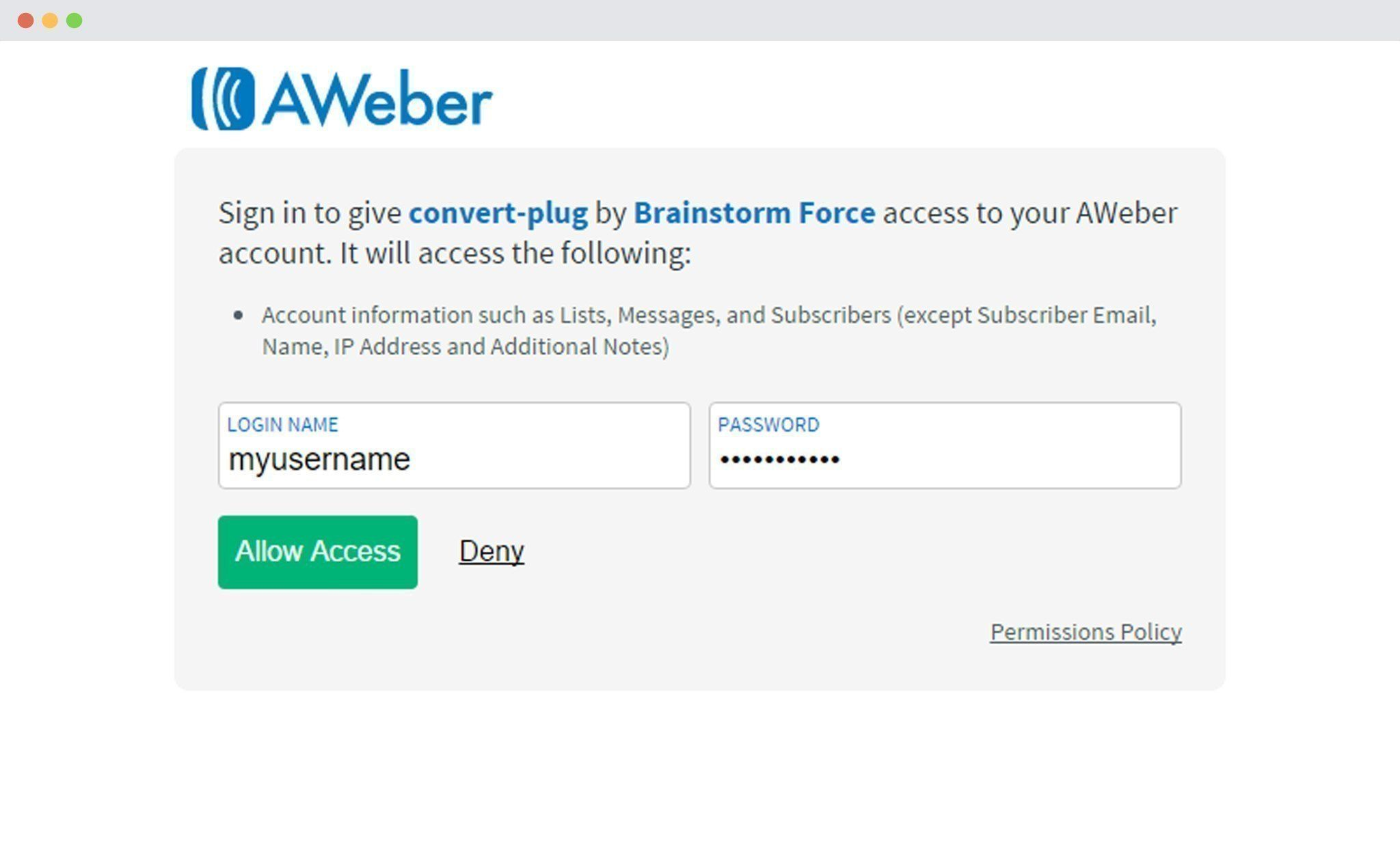 Username and password of aweber