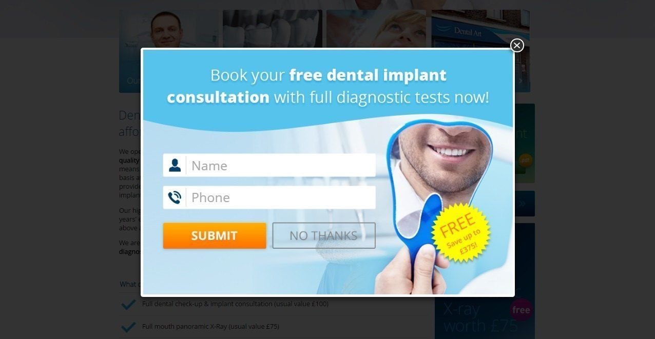 Offer free service to attract abandoning visitors_dentalimplant