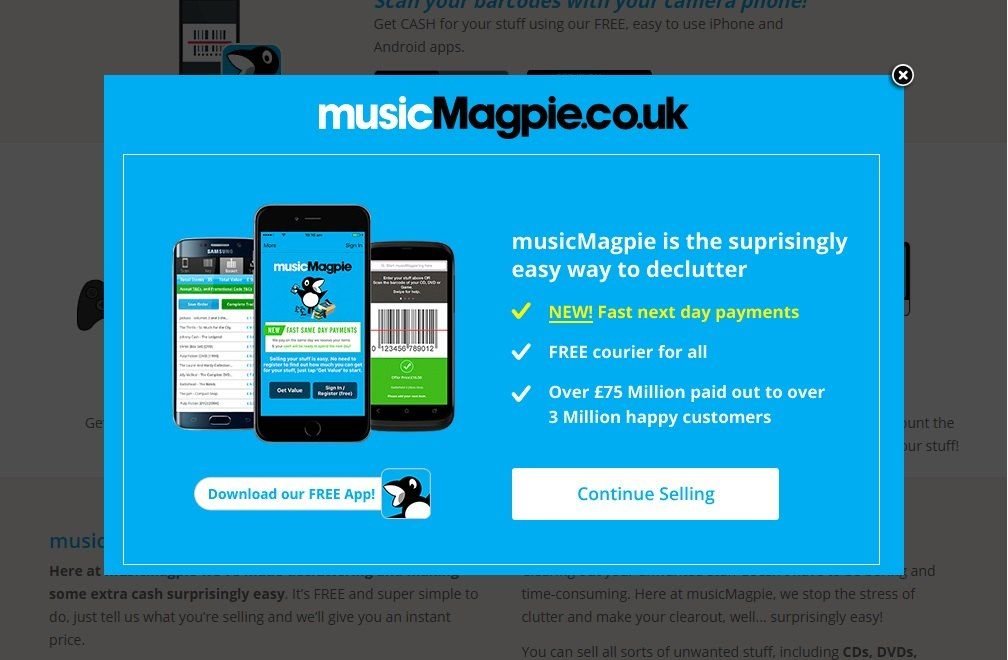 Offer a free app download for before visitors leave_musicmagpie
