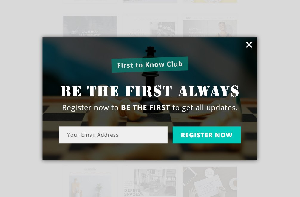 popup for joining the first-to-know club