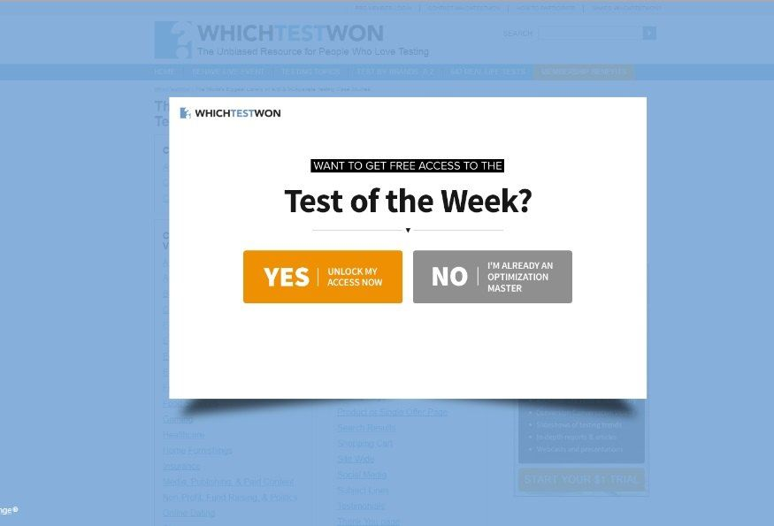 Exit intent popup offering free test_whichtestwon