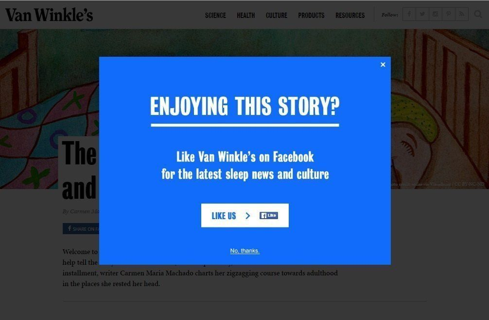 Encourage social shares before they leave_vanwinkles