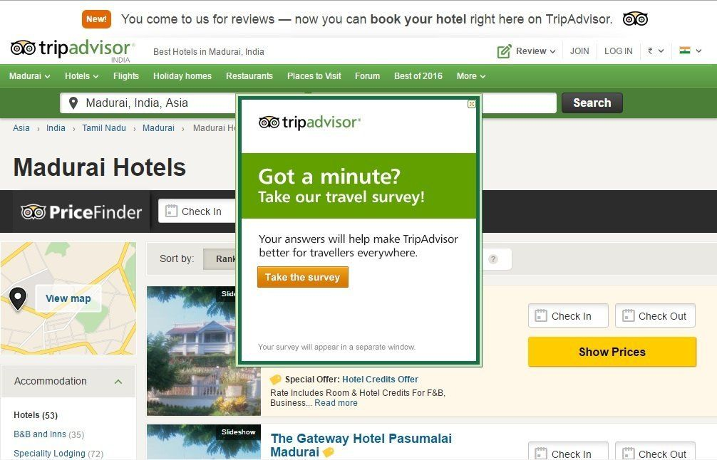 hold back visitors for a survey_tripadvisor