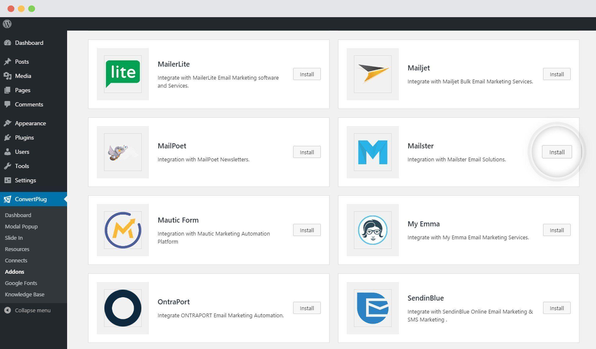 Mailster & WordPress Popup Plugin ConvertPlug