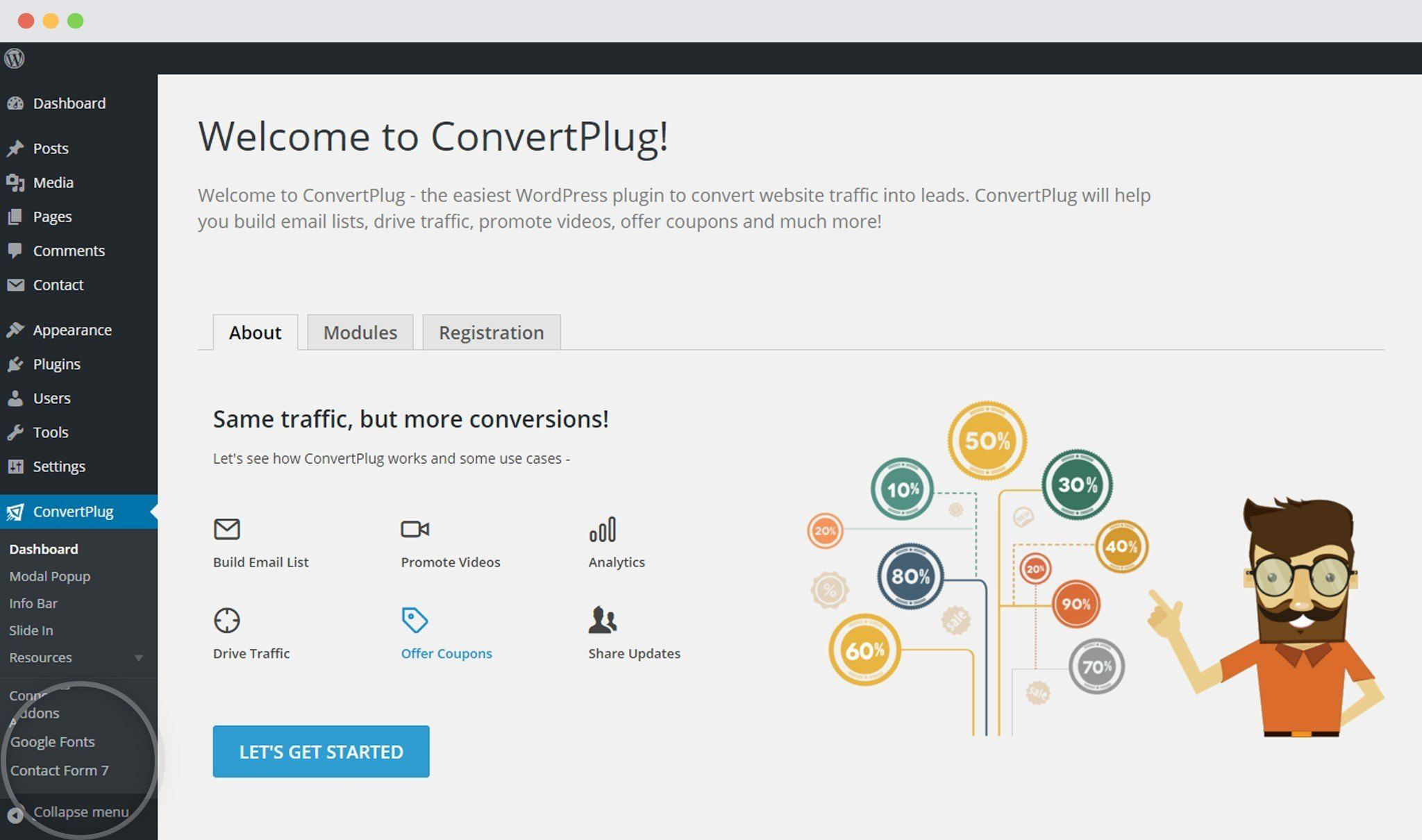Dashboard of ConvertPlus