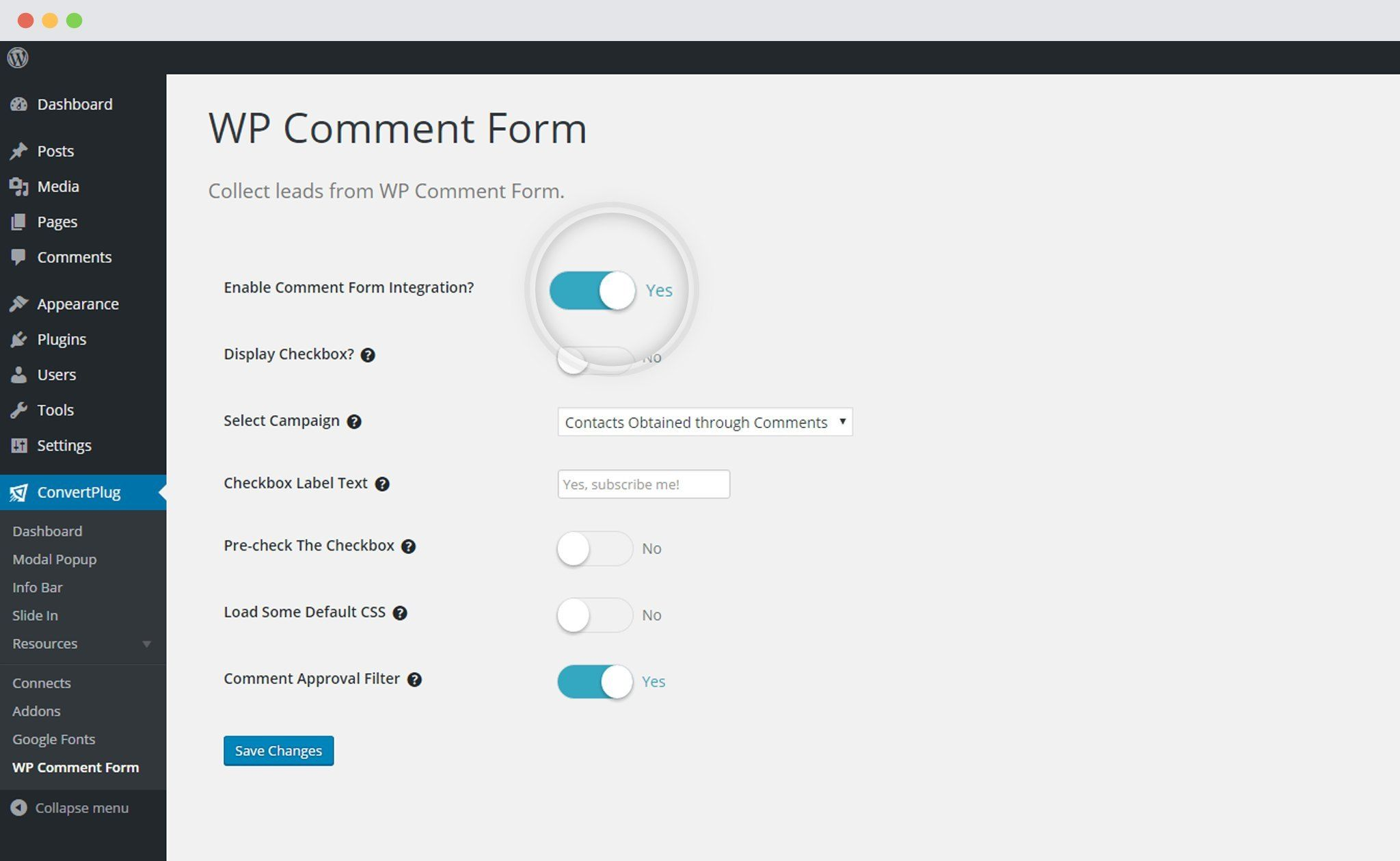 Enable WP Comment form integration with ConvertPlus