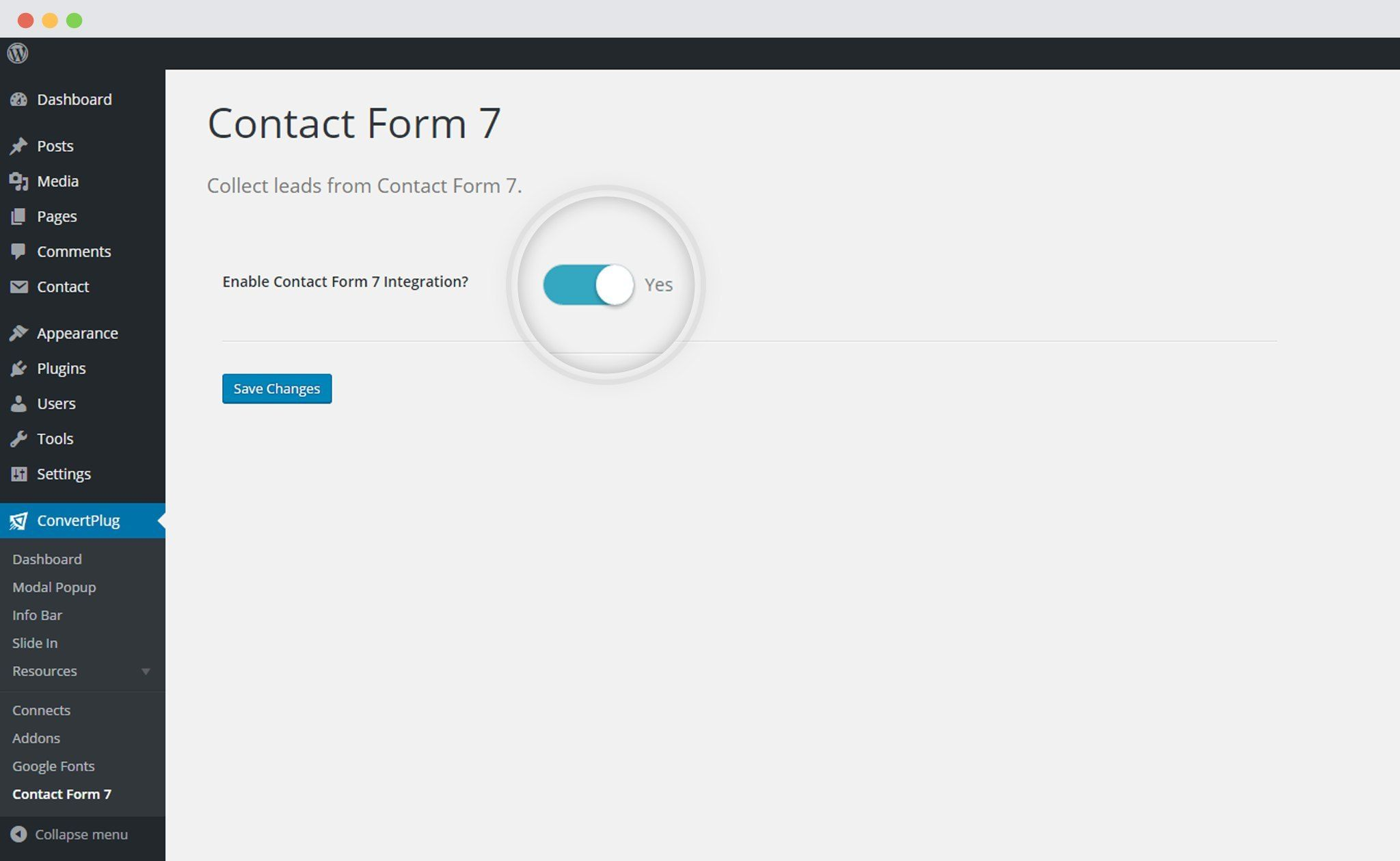 Enable integration of ConvertPluswith Contact Form 7