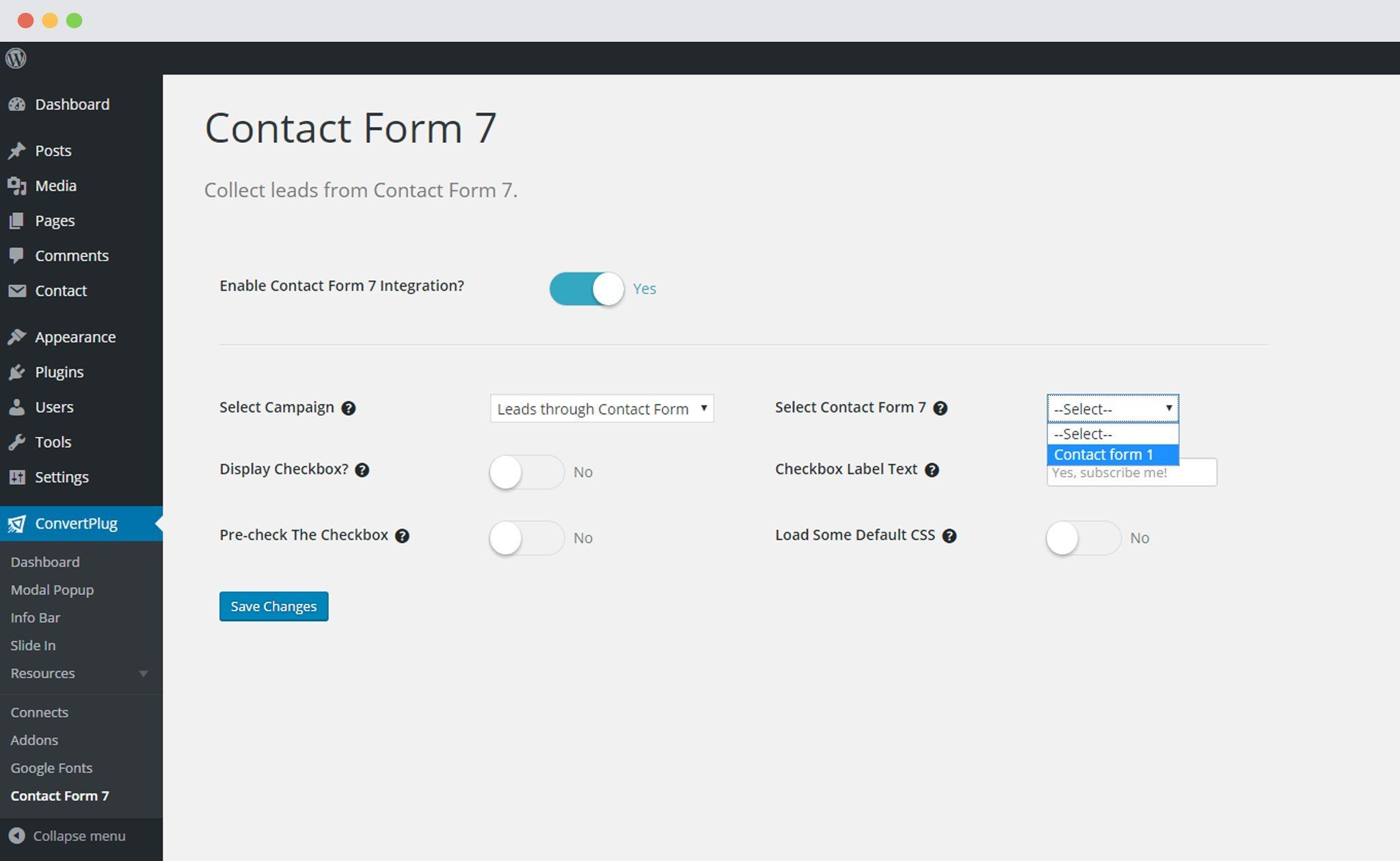 Select Contact Form