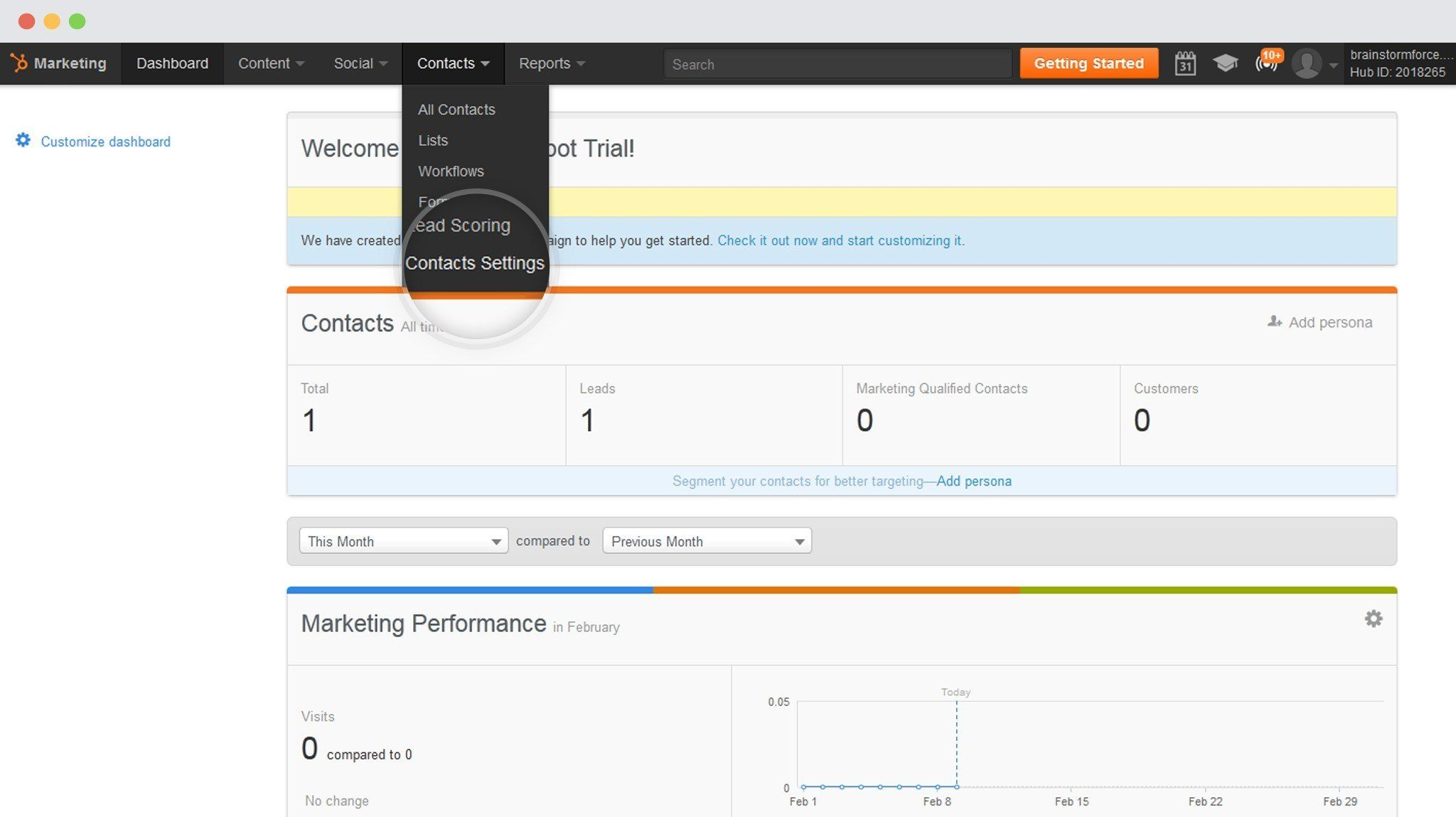Contact - Settings in HubSpot